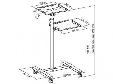 DRALL INSTRUMENTS Rollbarer Projektortisch höhenverstellbar für Beamer Overhead Projektor mit Ablage für Laptop Notebook Mediaplayer Spielekonsole Rack Modell: LB9 - 8