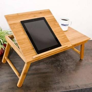 Relaxdays Laptoptisch aus Bambus HBT: 24 x 55 x 33 cm Beistelltisch mit praktischem Fach für Stifte oder Notizen verstellbarer Computertisch als Knietisch und Betttisch Notebooktisch aus Holz, natur - 2