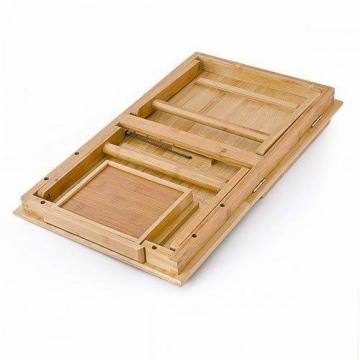 Relaxdays Laptoptisch aus Bambus HBT: 24 x 55 x 33 cm Beistelltisch mit praktischem Fach für Stifte oder Notizen verstellbarer Computertisch als Knietisch und Betttisch Notebooktisch aus Holz, natur - 4