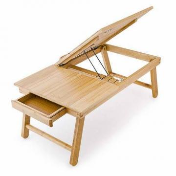 Relaxdays Laptoptisch aus Bambus HBT: 24 x 55 x 33 cm Beistelltisch mit praktischem Fach für Stifte oder Notizen verstellbarer Computertisch als Knietisch und Betttisch Notebooktisch aus Holz, natur - 5