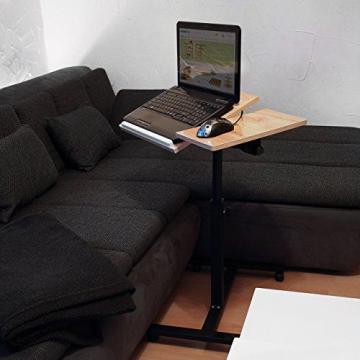 Relaxdays Laptoptisch höhenverstellbar, Laptopständer Holz, mit Rollen, drehbar, HxBxT: 95 x 60 x 40,5 cm, hellbraun - 2