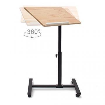 Relaxdays Laptoptisch höhenverstellbar, Laptopständer Holz, mit Rollen, drehbar, HxBxT: 95 x 60 x 40,5 cm, hellbraun - 3