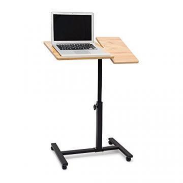 Relaxdays Laptoptisch höhenverstellbar, Laptopständer Holz, mit Rollen, drehbar, HxBxT: 95 x 60 x 40,5 cm, hellbraun