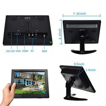 TOGUARD 8-Zoll 1024*768 TFT LCD Farb Monitor - Video Bildschirm mit BNC HDMI AV VGA Input - 4